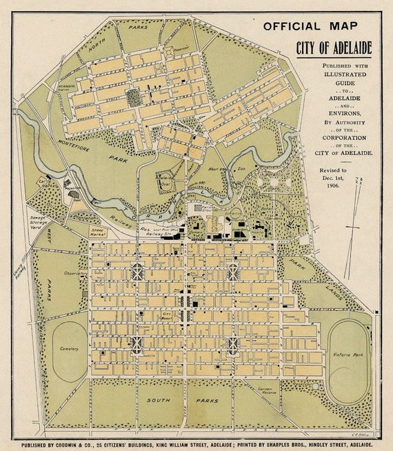 Old map of Adelaide Archival print Adelaide map restored