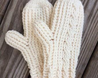 Chunky Winter Mittens, Crochet Winter Mittens. Cabled Winter Mittens, Winter Mittens