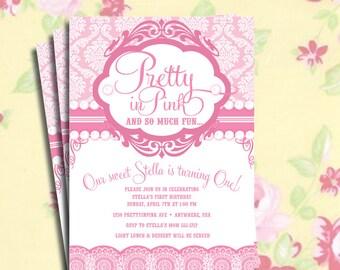 DIY Printable Vintage Pretty in Pink  Birthday Party Invitation or Baby Shower Invitation