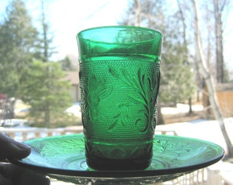 Emerald Green Cut Glass. Juice or drinking glass with matching saucer. Vintage/Collectible..