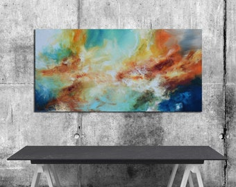 Original Abstract white Painting, orange blue painting on canvas, ready to hang, contemporary Large blue turquoise white aqua, panoramic art