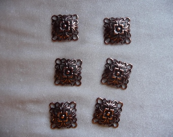 Link, antique copper-plated steel, 14x14mm single-sided domed square. Sold per pack of 12 links.