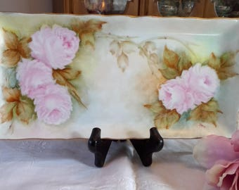 Vintage Signed Pink Rose Porcelain Dresser Tray, Serving Tray, rectangular, artist signed, shabby chic, cottage chic, romantic decor, gift