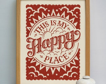 This Is My Happy Place Print | Craft Space Gift | Craft Space Print | Sewing Room Print | Craft Studio Print | Crafting Gift