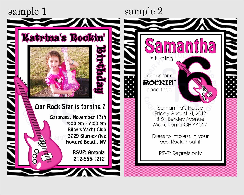 Rockstar photo girl birthday party Rock star Invitation or