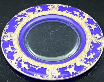 Cambridge, Imperial Hunt Scene Etch, Gold Encrusted, Crystal 8 Inch Plate with Royal Blue Enameled Background