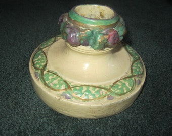 Vintage Italian Della Robbia Pottery Altar Candle Holder