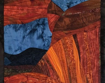 Art Quilt Red Rocks 1, wall quilt, wall hanging