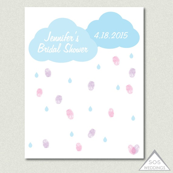 Pictures For Guests Fingerprints And Wishes: Rain Cloud Bridal Shower Guest Book Baby Shower Thumbprint