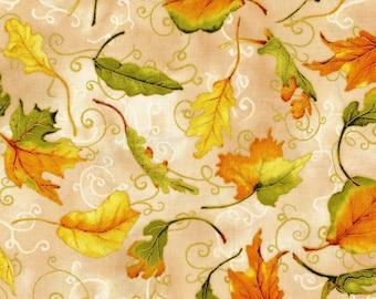 Autumn Metallic Leaves  Scroll  Fabric By RJR