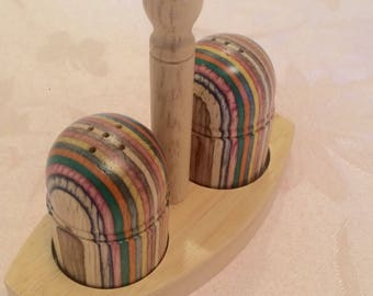 Bright Multi Color Wood Salt And Pepper Shaker Set. Beautiful Aged Wood. Shaker Set Bright Kitchen Stained Wood Rainbow Layered Grain