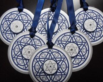 Navy and Silver Circle Hanukkah Tags