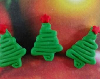 Edible Fondant Christmas Trees-Cake Pop Toppers-Cupcake Toppers-Christmas Toppers-Green Trees