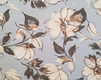 """Vintage Blue Silk Rayon Fabric 26"""" x 45.5"""" Floral Flowers Material Yard A38"""
