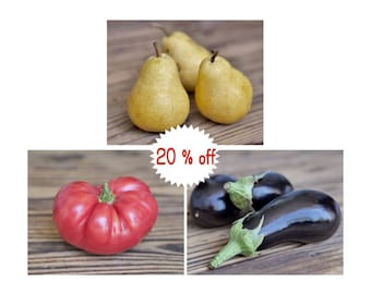 Fruit and vegetable prints wall art kitchen gallery wall, food pictures, kitchen wall art, pear tomato eggplant photo print, set of 3 prints