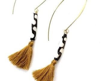 Gold tassel dangle earrings//statement boho chic tassel earrings//gemstone earrings- African statement earrings//bohemian jewelry//