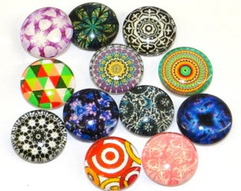 Set of 10 cabochons 12 mm glass theme cab84 multicolor abstract pattern