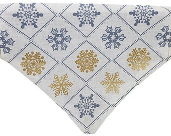 Winter Snowflakes reversible dog bandana Snowflakes Snow Gold and Silver holiday Gifts for dogs and dog lovers
