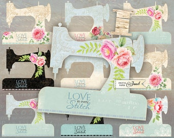 Sewing Machine - digital collage sheet - set of 8 - template sewing machine - printable tags