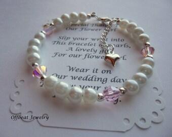 Flower Girl Bracelet, Flower Girl Gift, Flower Girl Jewelry, Pearl Flower Girl Bracelet, Little Girls Bracelet, Birthstone Bracelet