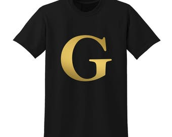 Personalised Alphabet Tshirt Favourite Letter Custom Name Black Initials G