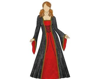 Anastasia Medieval Dress Sewing Pattern - Sizes 8-22 UK - Download PDF