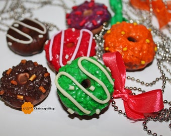 Fimo ' Donut ' necklace (6 different colors)