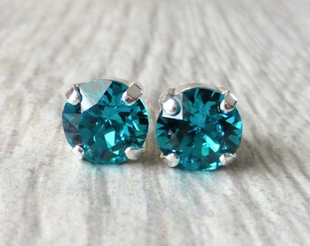 Blue Zircon Swarovski Stud Earrings, Crystal Rhinestone Stud Earrings, Post Earrings, Silver Round Crystal Studs, Gift for Her, Bridesmaids