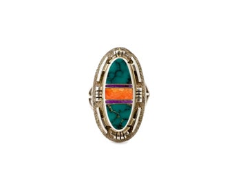 Multi-Stone Zuni Inlay Ring w/ Hubei Turquoise, Spiny Oyster & Sugilte