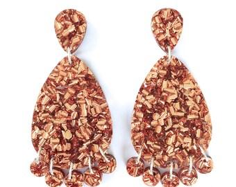 Super Lush Drop Earrings - Rose Gold Riot - Laser Cut Glitter Drops - Each To Own