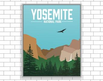 Yosemite, National Park, California, Yosemite Print, National Park Canvas, Visit Yosemite, Visit California, Modern Illustration, Home Decor