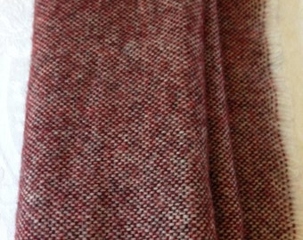 Vintage 100% Pure Shetland Wool Long Burgundy Scarf - Wrap. The Perfect Scarf to Keep You Warm on Those Chilly Winter Days!