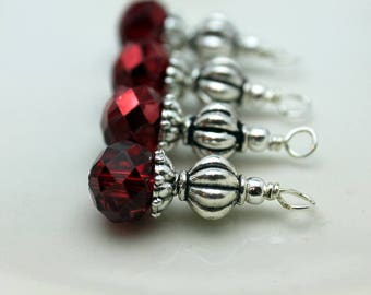 Red Crystal and Silver Ribbed Bead Earring Dangle, Necklace Pendant, Wedding Jewelry, Bridemaid Charms, Jewelry Making