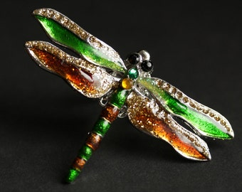Green Dragonfly Ring. Amber and Green Dragonfly Ring. Silver Adjustable Ring. Dragonfly Jewelry. Cocktail Ring. Big Ring. Handmade Jewelry.