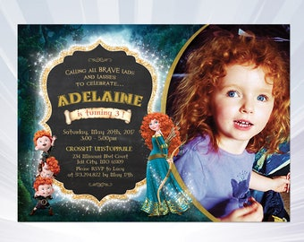 BRAVE Birthday Invitation, Brave Invitation, Merida Invitation, Brave Merida Invitation, Princess Merida Brave Movie Party