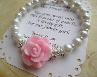 Pearl Flower Girl Bracelet, Flower Girl Gift, Pearl Flower Girl Jewelry, Pearl Childs Bracelet, Pearl Kid Bracelet, Pearl Childrens Bracelet