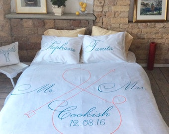 Personalized bedding set, king queen size, pillow cases, Duvet cover, wedding gift ideas, couple newlywed marriage gift housewarming gift
