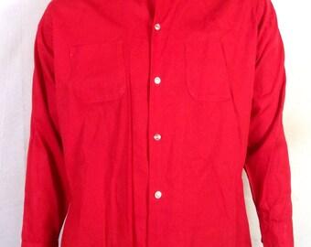 vtg 50s Mr. Walker ROCKABILLY Bright Red Button Down Dress Shirt slim and trim L