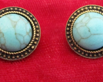 """vintage darktone metal round stud beads with turquoise centre in good condition 3/4""""across"""