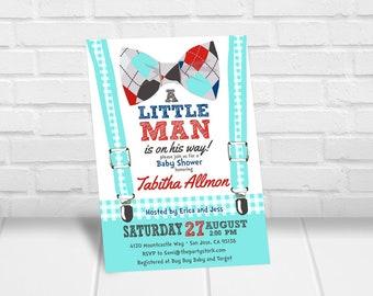 Little Man Baby Shower Invitation Printable Bowtie Baby Shower Invitation