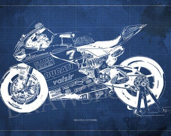 2014 DUCATI WSBK Blueprint,Art Print larger sizes, Bike Art print,Original Drawing for men cave,digital art,gift fot him,christmas gift