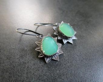 Green Chrysoprase Stamped Silver Earrings