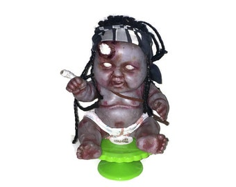 MICHONNE inspired! Baby Rots-a-Lot: zombie baby 8 inch vinyl doll ~ As seen on AMC - OOAK