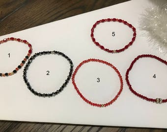 Red and Black Quartz Bracelets