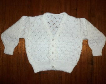 White Baby cardigan. Christening baby cardigan. 12 month cardigan. White Flower girl cardigan. Baby girl. White Hand knitted baby cardigan.