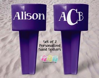 Personalized Vacation Sand Spiker - Beach Sand Spiker - Monogrammed Beach Cup Holder - Custom Beach Cup Holder - Valentine's Day Gift