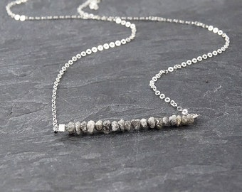 Raw Diamond Necklace • April Birthstone Necklace for Women • Boho Jewelry • Mother Gift from Daughter • Gray Diamond Jewelry Bridesmaid Gift