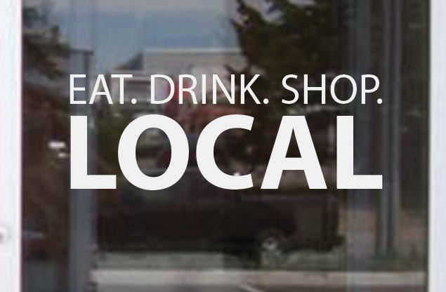 Store window sign eat drink shop local vinyl window decal sticker