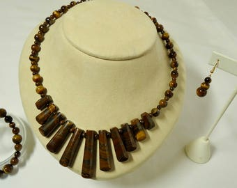 Tiger's Eye Jewelry, Necklaces for Women, Brown, Tiger's Eye Necklace, Gemstone Necklaces with Bracelet and Earrings set, Mothers day Gift.