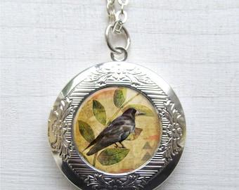 Photo Locket, Raven Necklace, Locket Necklace, Raven Pendant, Raven Jewelry